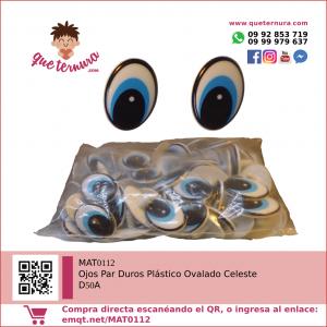 Ojos Par Duros Plástico Ovalado Celeste D50A