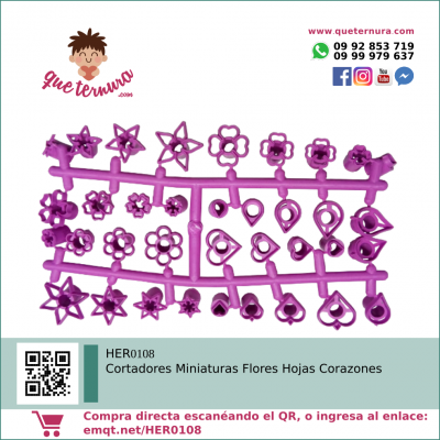 HER0108 Cortadores Miniaturas Flores Hojas Corazones