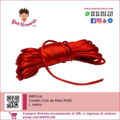 MAT0148 Cordón Cola de Rata 1m ROJO