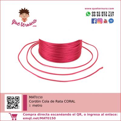 MAT0150 Cordón Cola de Rata 1m Coral