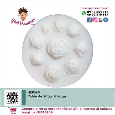 HER0149 Molde de Silicon 9 Rosas